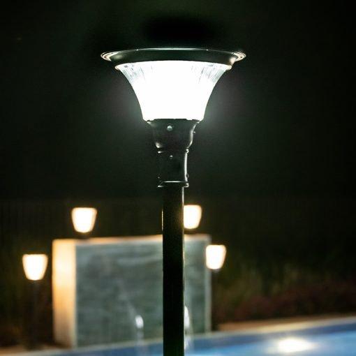 solar powered light shining in large back garden of Brisbane home