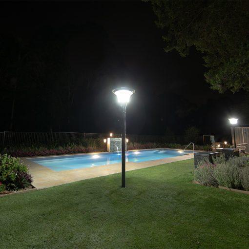 solar light on pole in back garden of home in Brisbane