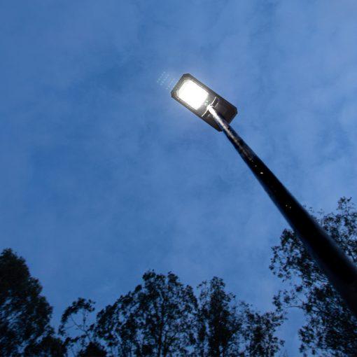 outdoor garden solar light shining on open space