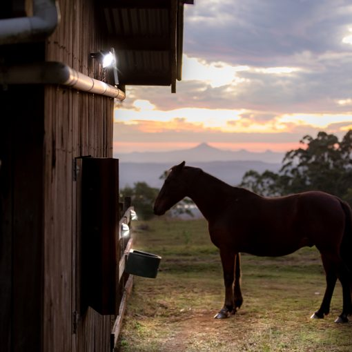 motion sensing outdoor solar security light on farm in South East Queensland