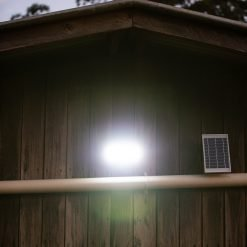 small wall mountable security light with motion sensor and independent solar panel