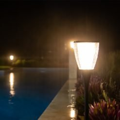 weather proof outdoor solar lights along swimming pool edge Brisbane