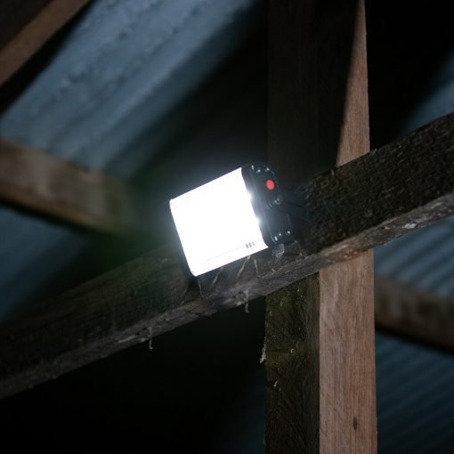 bright, small solar light shining inside garden shed