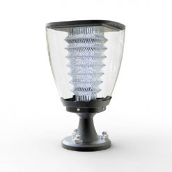 powerful solar pillar garden light shining brightly to keep a garden well lit in Australia