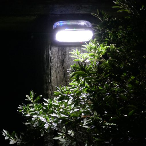 garden solar light shining on open areas of back garden in Brisbane