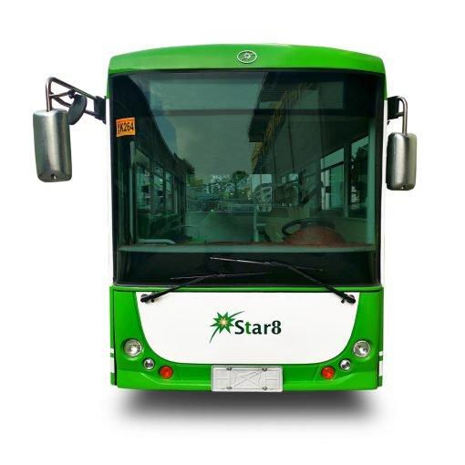 environmentally friendly solar bus driving down Brisbane streets