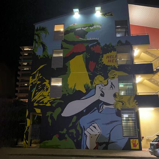 solar lights on outside of building in Darwin, Australia
