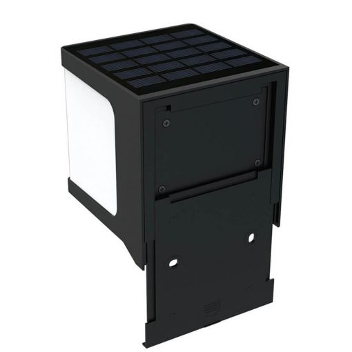 square solar security wall light with mounting bracket to attach to brick wall