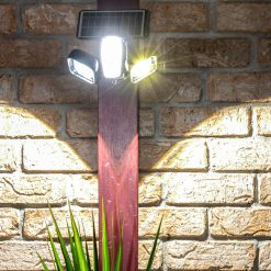 very bright solar security light mounted to wall