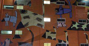 solar lights shining on mural on building in Darwin