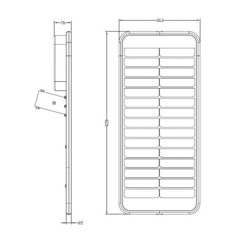 Dimensions of Slimline solar LED garden light