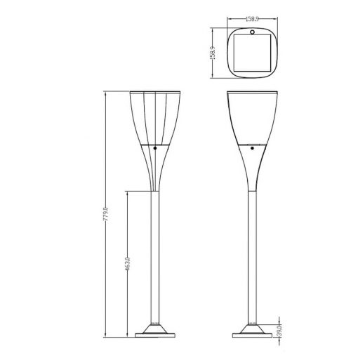 stylish solar bollard light diagram