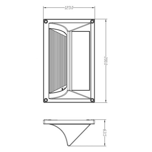 diagram showing proportions and dimensions of solar step lights